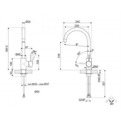 Baterie de bucatarie Smeg MI4SS, inox