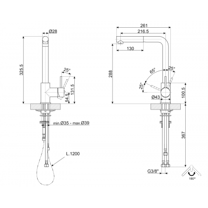 Baterie de bucatarie Smeg MID1SS, inox, extractibil