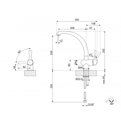 Baterie de bucatarie Smeg MF8CR, crom