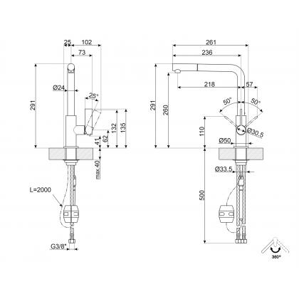 Baterie de bucatarie Smeg MD22CUX, cupru, extractibil