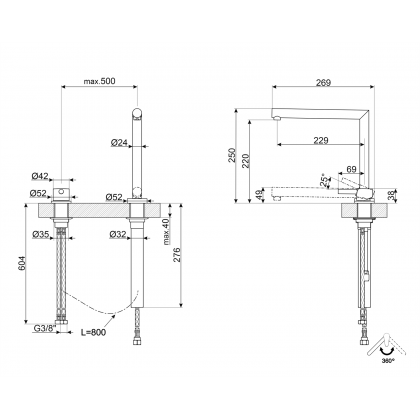 Baterie de bucatarie Smeg MT5CR, crom, ajustabil pe inaltime
