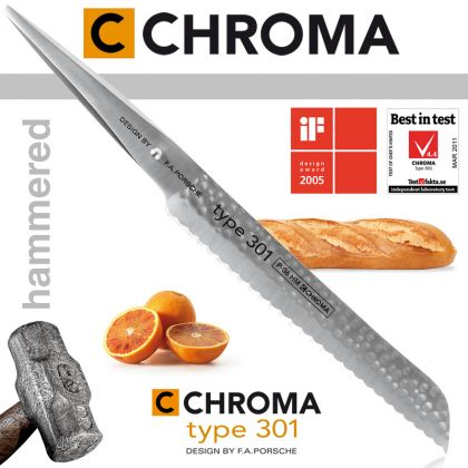 Cutit pentru paine Hammered Type 301 by F.A. Porsche CHROMA P-06 HM, 20.9 cm, inox 18/10