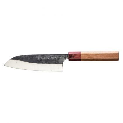 Cutit Santoku Kasumi Black Hammer Blue BHB-100, 16.5 cm, otel, dublu V-Cut