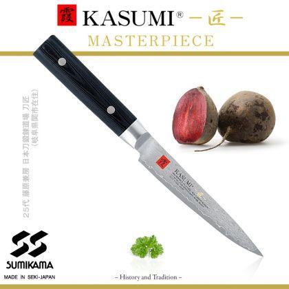 Cutit universal Kasumi Masterpiece MP-02, 12 cm, otel VG10 Damasc, 32 de straturi, dublu V-Cut