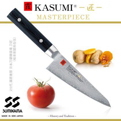 Cutitul Bucatarului Kasumi Masterpiece MP-03, 14 cm, otel VG10 Damasc, 32 de straturi, dublu V-Cut