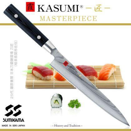 Cutit Sashimi Kasumi Masterpiece MP-13, 21 cm, otel VG10 Damasc, 32 de straturi, dublu V-Cut