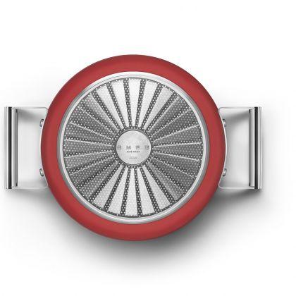 Oala retro Smeg 50's Style CKFC2411RDM, rosu, 24 cm