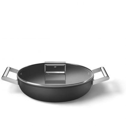 Oala adanca cu capac retro Smeg 50's Style CKFD2811BLM, neagra, 28 cm