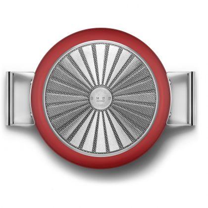 Oala adanca cu capac retro Smeg 50's Style CKFD2811RDM, rosie, 28 cm