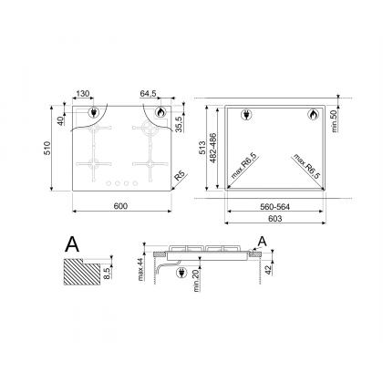 Plita incorporabila vitroceramica pe gaz Smeg Colonial PV864PO, 60 cm, crem