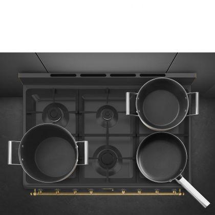 Masina de gatit mixta Smeg Colonial CO96GMA9, retro, antracit, Vapor Clean