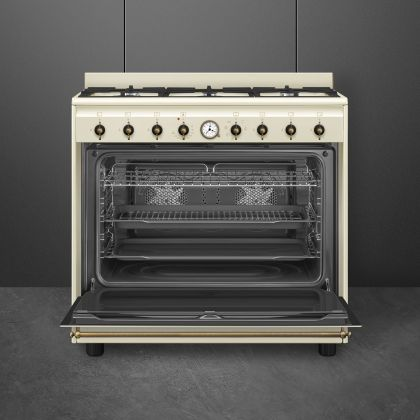 Masina de gatit mixta Smeg Colonial CO96GMP9, retro, crem , Vapor Clean