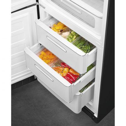 Combina frigorifica retro Smeg FAB32LBL5, No Frost, clasa D, negru, balamale pe stanga