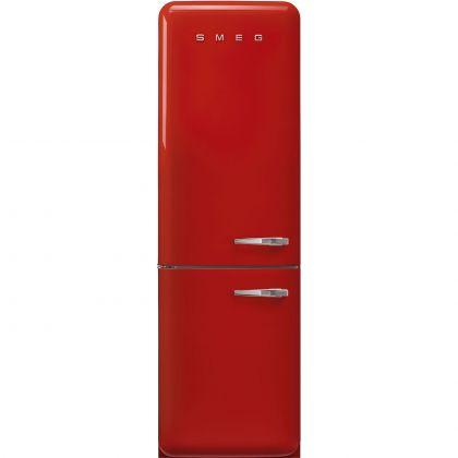 Combina frigorifica retro Smeg FAB32LRD5, No Frost, clasa D, rosu, balamale pe stanga