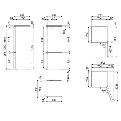 Combina frigorifica retro Smeg Colonial FA8005RAO5, 70 cm latime, antracit, Total No Frost