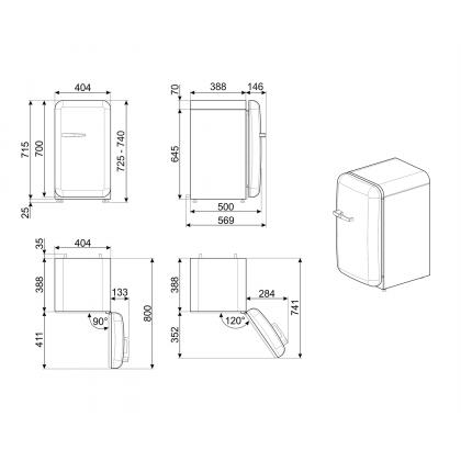 Frigider minibar retro Smeg FAB5RSV5, gri, static