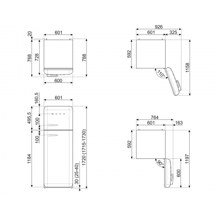 Frigider cu 2 usi retro Smeg FAB30RCR5, 60 cm latime, crem, static
