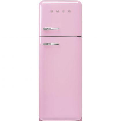 Frigider cu 2 usi retro Smeg FAB30RPK5, 60 cm latime, roz, static