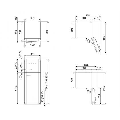 Frigider cu 2 usi retro Smeg FAB30RSV5, 60 cm latime, gri, static