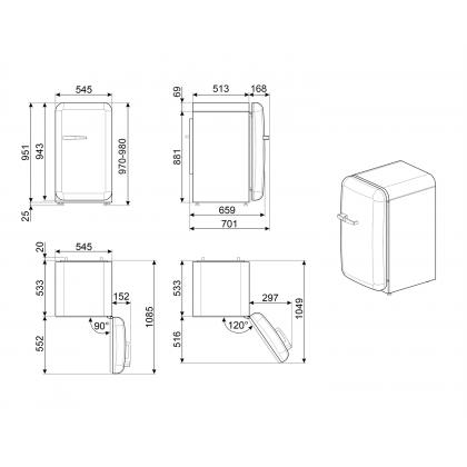 Frigider minibar retro Smeg FAB10RDUJ5, Union Jack , static