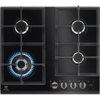 Plita incorporabila pe gaz Electrolux KGG64365K, 60 cm, gratare de fonta, wok, neagra