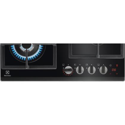 Plita incorporabila pe gaz Electrolux KGG64365K, 60 cm, Neagra, gratare de fonta, wok