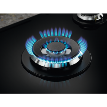 Plita incorporabila pe gaz Electrolux KGG75365K, 75 cm, gratare de fonta, wok, Neagra
