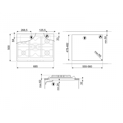 Plita incorporabila pe gaz Smeg Contemporary SRV576GH5, retro, 70 cm, inox
