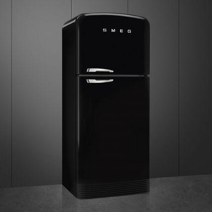 Frigider cu 2 usi retro Smeg FAB50RBL5, No Frost, 80 cm latime, negru