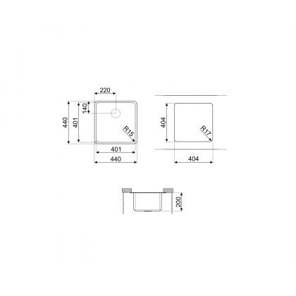 Chiuveta montaj sub blat Smeg VSTR40DKX, 44 cm, gri