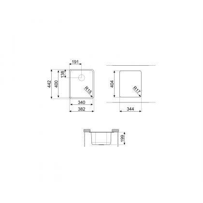 Chiuveta montaj sub blat Smeg VSTR34DKX, 40 cm, gri