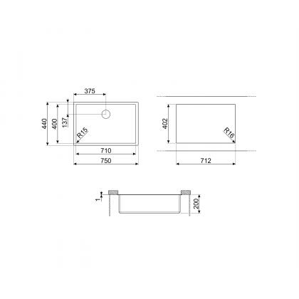 Chiuveta montaj sub blat Smeg VSTR71DKX, 75 cm, gri