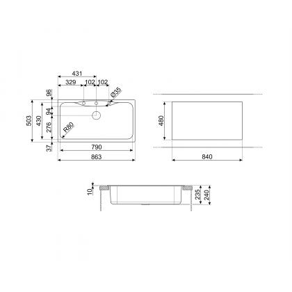 Chiuveta de compozit Smeg LSEG860P, 86 cm, crem