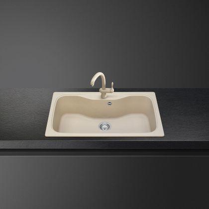 Chiuveta de compozit Smeg LSEG860AV2, 86 cm, avena