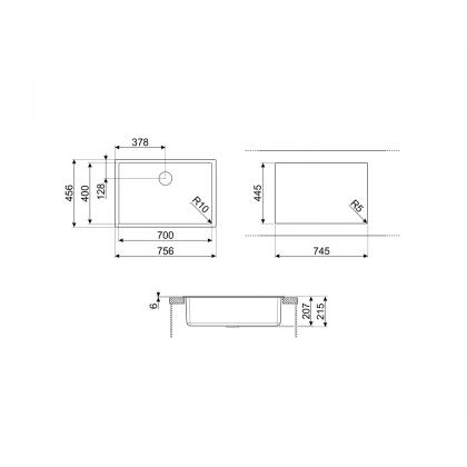 Chiuveta de compozit Smeg VZP76DV, 75 cm, gri deschis