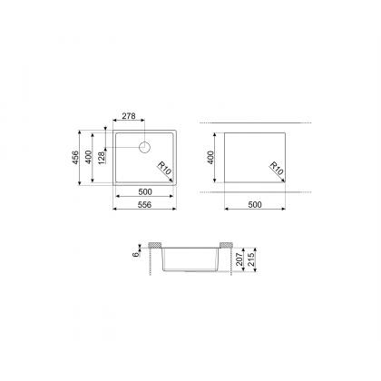 Chiuveta de compozit Smeg VZP56CT, 55 cm, gri