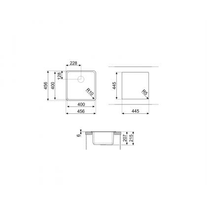 Chiuveta de compozit Smeg VZP45CT, 45 cm, gri