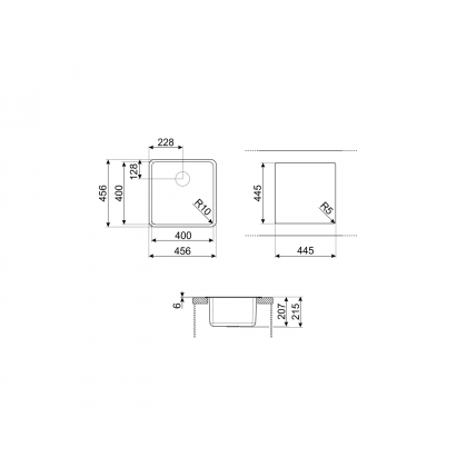 Chiuveta de compozit Smeg VZP45N, 45 cm, neagra