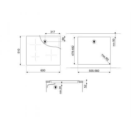 Plita incorporabila cu inductie Smeg SI2641DP, 60 cm, retro, crem