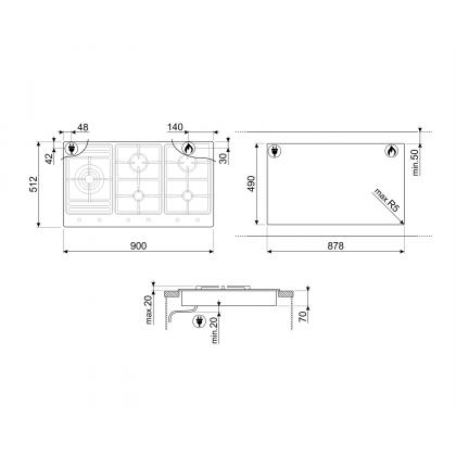 Plita incorporabila pe gaz Smeg Classic PS906-5, 90 cm, inox, Wok, gratare de fonta