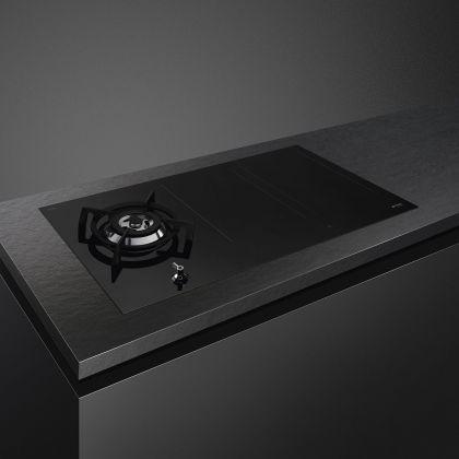 Plita incorporabila mixta Smeg Classic PM3953D, 90 cm, gaz si inductie, functie Bridge