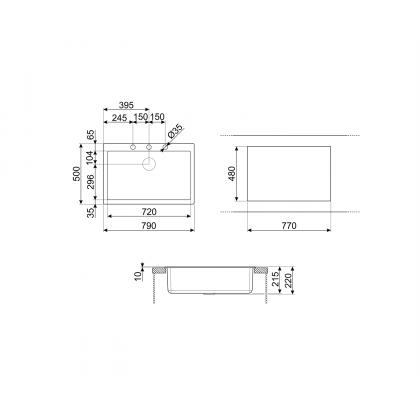 Chiuveta de compozit Smeg VZ79CT, 80 cm, gri