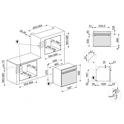Cuptor incorporabil electric Smeg Classic SF6388X, inox, 8 functii