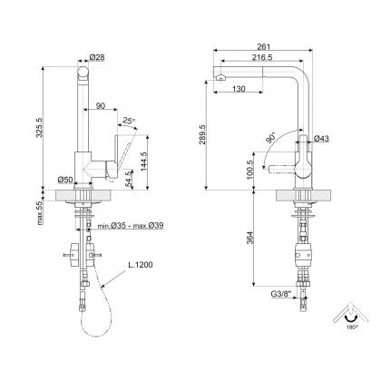 Baterie de bucatarie Smeg MID1CR, crom, extractibil