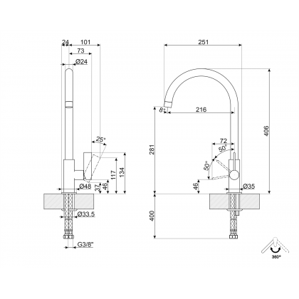 Baterie de bucatarie Smeg MRMG3CR, crom