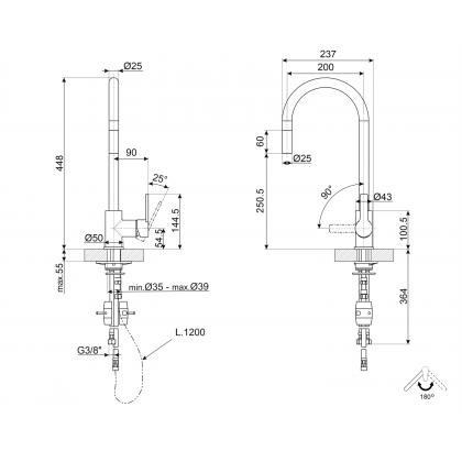 Baterie de bucatarie Smeg MID2CR, crom, extractibil