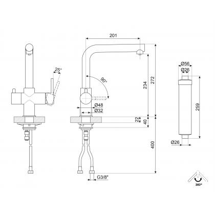 Baterie de bucatarie Smeg MAP99CR, crom