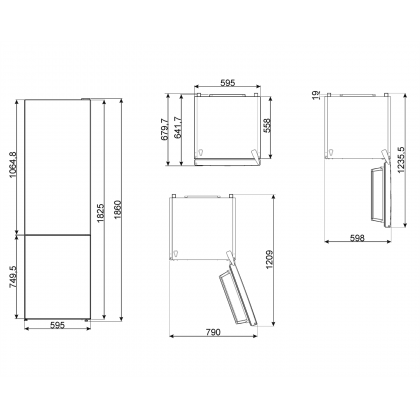 Combina frigorifica Smeg FC18EN1M, 60 cm latime, Total No Frost, Clasa E, crem