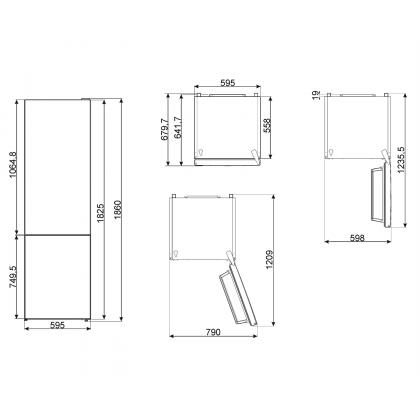 Combina frigorifica Smeg FC18EN4AX, Total No Frost, 60 cm latime, Clasa E, inox