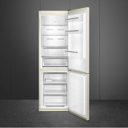 Combina frigorifica Smeg FC18EN4AM, Total No Frost, 60 cm latime, Clasa E, crem
